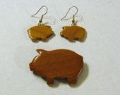 Pig Wooden Earrings And Pin Set