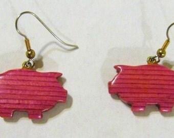Pig Wooden Earrings