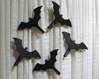 Wood Bat Halloween Decorations Set of Five Ornaments