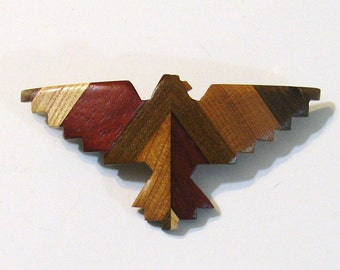 Hair Clip Thunder-bird Made from Four Woods