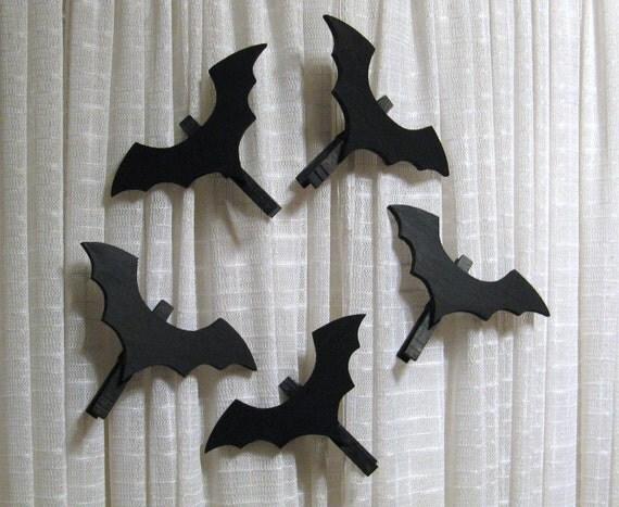 Wood Bat Halloween Decorations Set of Five Ornaments