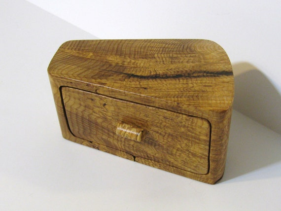 Treasure Box With Secret Drawer Made of Ash Burl Wood