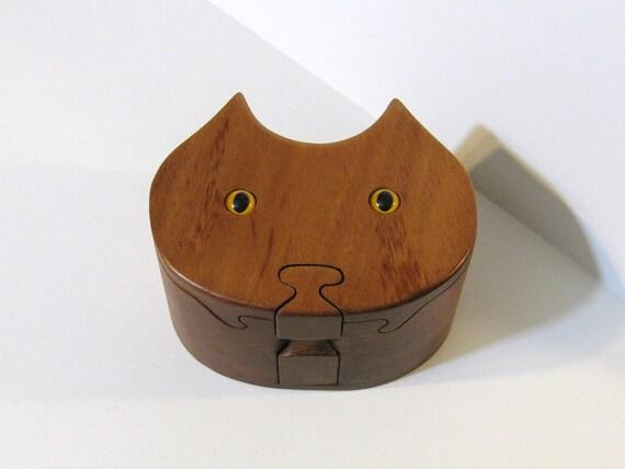Cat Puzzle Box Made Of Mahogany Wood