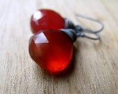 Red Gemstone Earrings - Rust Tomato Chalcedony In Oxidized Sterling Silver - Glowing Ember