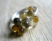 Citrine Ring, November Birthstone Jewelry, Sterling Silver Cocktail Ring Ready To Ship - Canary
