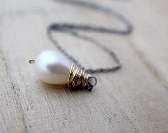 Pearl Teardrop Necklace, Genuine Freshwater Pearl In 14K Gold Fill & Sterling Silver