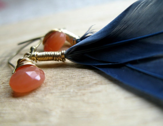Blue Feather Earrings With Peach Moonstone In Brass - Blue and Orange Fashion