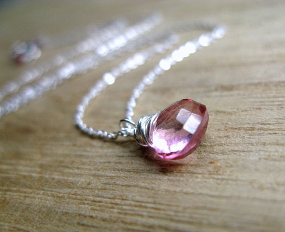 Topaz Necklace In Sterling Silver, Pink Topaz Wire Wrapped December Birthstone, Summer Fashion