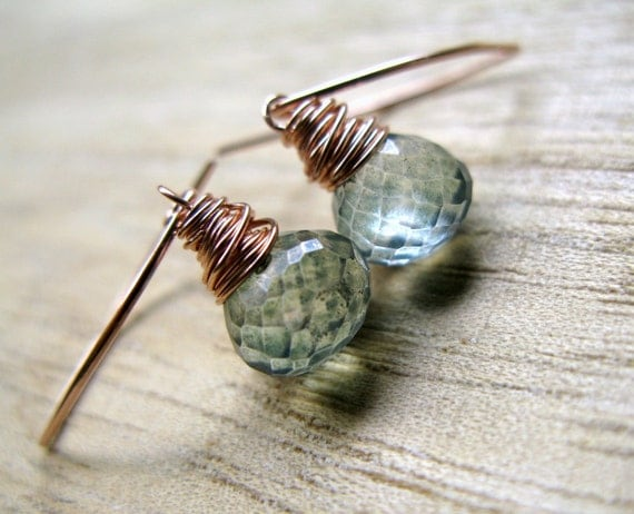 Teal Quartz Earrings, 14K Rose Gold Filled Drop, Wire Wrapped Gemstone