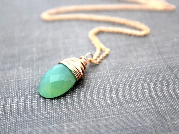 Chalcedony Gold Necklace, Wire Wrapped Chrysoprase Green Gemstone, 14k Gold Filled, Gifts Under 50