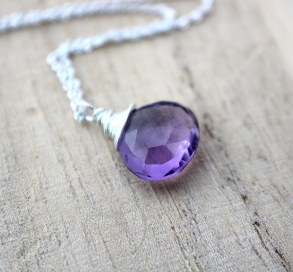 Amethyst Necklace, Sterling Silver, AAA Gemstone Solitaire, February Birthstone, Purple Fashion