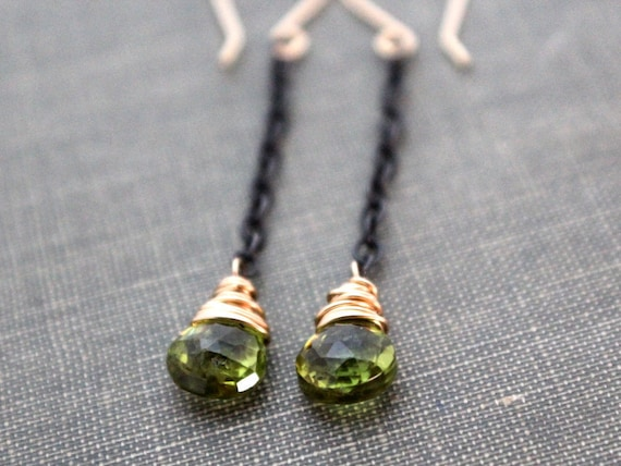Peridot Earrings, 14K Gold Filled & Oxidized Sterling Silver, Wire Wrapped,  Mixed Metal, August Birthstone