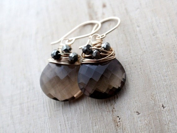 Smoky Quartz Earrings With Woven Pyrite In 14K Gold Filled, Wire Wrapped, Chocolate Stone, AAA Gemstone