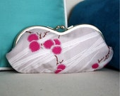 Pink, Gray, and White Asian Puff Silver Frame Sunglass Case
