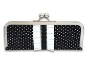 Black and White Polka Dot with Pleated Ruffle Frame Clutch Wallet