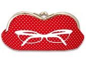 Sunglasses Case in Red and White Polka Dot Glasses Print - Frame Sunglass Case