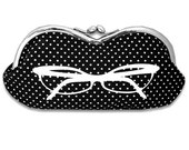 Sunglasses Case in Black and White Polka Dot with Eyeglasses Screenprint