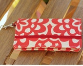 Smart Phone Wallet Or Cell Case in Cherry and Cream Floral