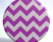 Chevron Print Mirror in Purple and Gray - Large 3.5 inch Pocket Mirror with Turquoise Storage Bag