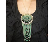 Necklace - Green and Gold Chain - Custom Length - Large Bib Necklace - Gold Cable Chain Necklace