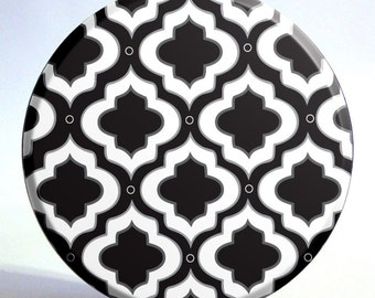 3.5 inch Black and White Moroccan Inspired Pocket Mirror with Storage Bag - HALF PRICE SALE - Only 4.50