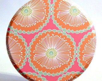 Pocket Mirror in Orange, Coral, and Turquoise Floral with Storage Bag