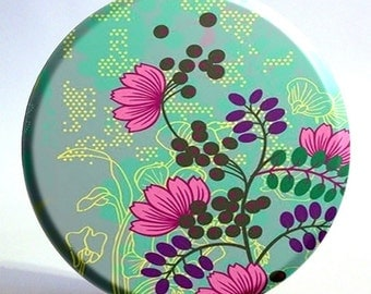 3.5 inch Blue and Seafoam Green Floral Pocket Mirror with Storage Bag - Half Price Sale