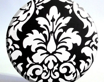 3.5 inch Black and White Damask Large Pocket Mirror - On Sale Now