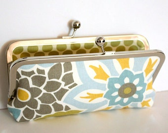 Kisslock Clutch in Blue, Gray, Green, and Yellow Modern Floral - Large Slim Frame Clutch