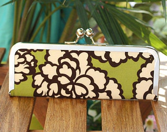 Green, Brown, and Cream Floral Frame Clutch Wallet