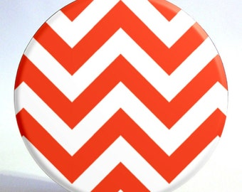 Chevron Print Mirror in Orangish Red and White - 3.5 inch Pocket Mirror with Turquoise Storage Bag