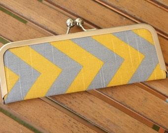 Chevron Wallet - Clutch Wallet - Gray and Yellow Chevron Slim Kisslock Frame Wallet