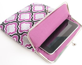 Purple Moroccan iPad Case or Sleeve with Kisslock Frame - iPad Case or Clutch - Notebook Clutch - Purple-Black-Gray Moroccan Print Canvas