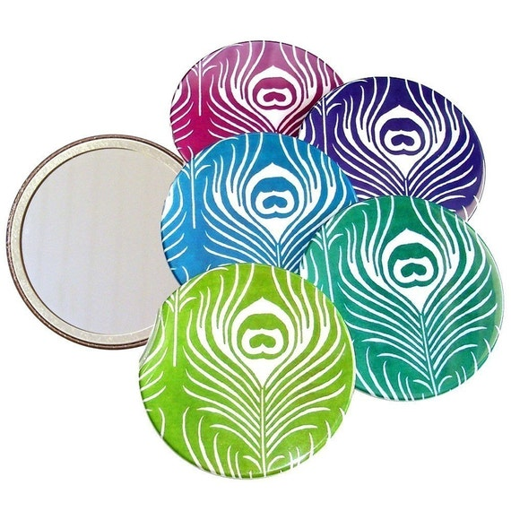 3.5 inch Peacock Feather Pocket Mirror with Storage Bag - Choose your Color - Half Price SALE - 4.50