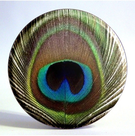 Peacock Feather Mirror - Blue, Green, and Brown Large Pocket Mirror with Storage Bag - Under 5