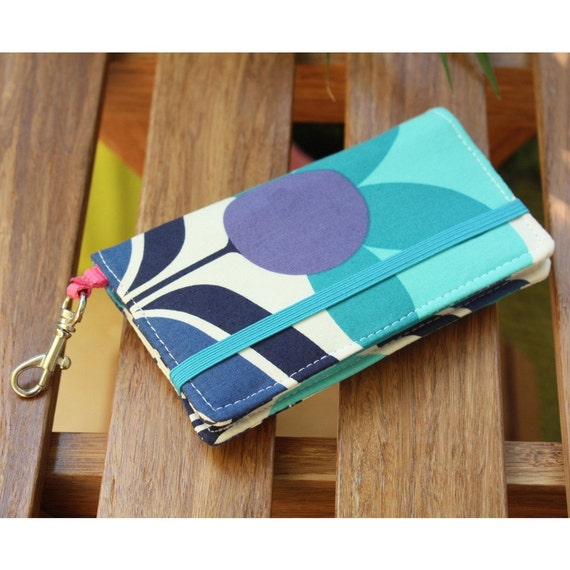 Smart Phone Wallet Or Cell Case in Blue Melrose Flower Print Fabric