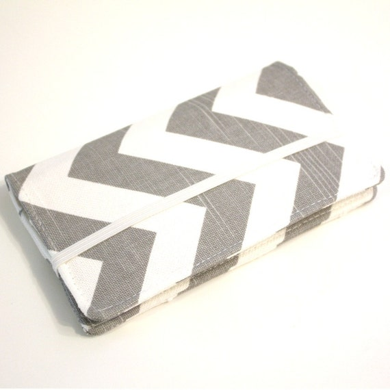 Cell Phone Wallet - Chevron Print - Gray and White - Smart Phone Wallet