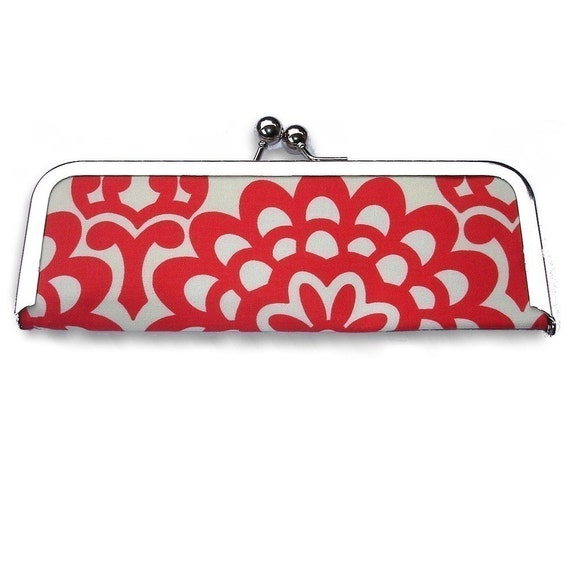 Cherry Red Floral Frame Wallet Clutch