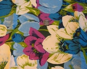 Vintage 1960s 1970s Crazy Huge Blue Purple Tulip Flower Power Hippy Fabric Yard - tessimal