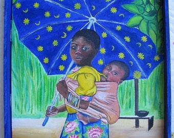Girl with Baby and Umbrella Gift Card Tessimal Art FREE SHIPPING USA