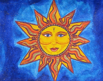 Sun Painting Blue Yellow Celestial for Your Home Decor Original Artwork by Tessimal