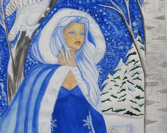 Snow Queen Gift Card Collect for Seasonal Holiday Happy New Year Wolf and Owl Snow Blue Winter Jack Frost