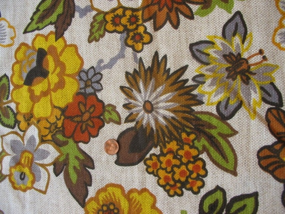 Vintage 1960s 1970s Flower Green and Y ellow Upholstery Fabric 1 YARD Remnant