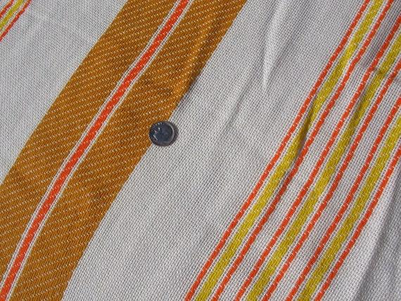 Crazy Summer Destash Sale Vintage 1960s 1970s 33 yards reserved for Anita Striped Orange and White Textured Textile Groovy Mod