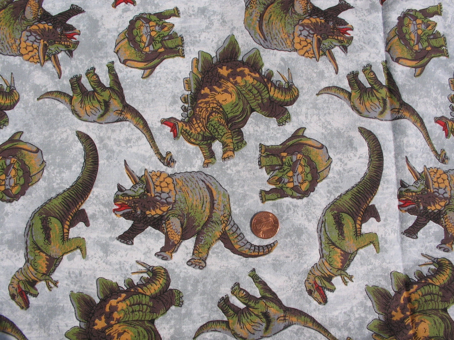 Vintage animal print half yard 1980s dinosaur fabric for Vintage childrens fabric by the yard