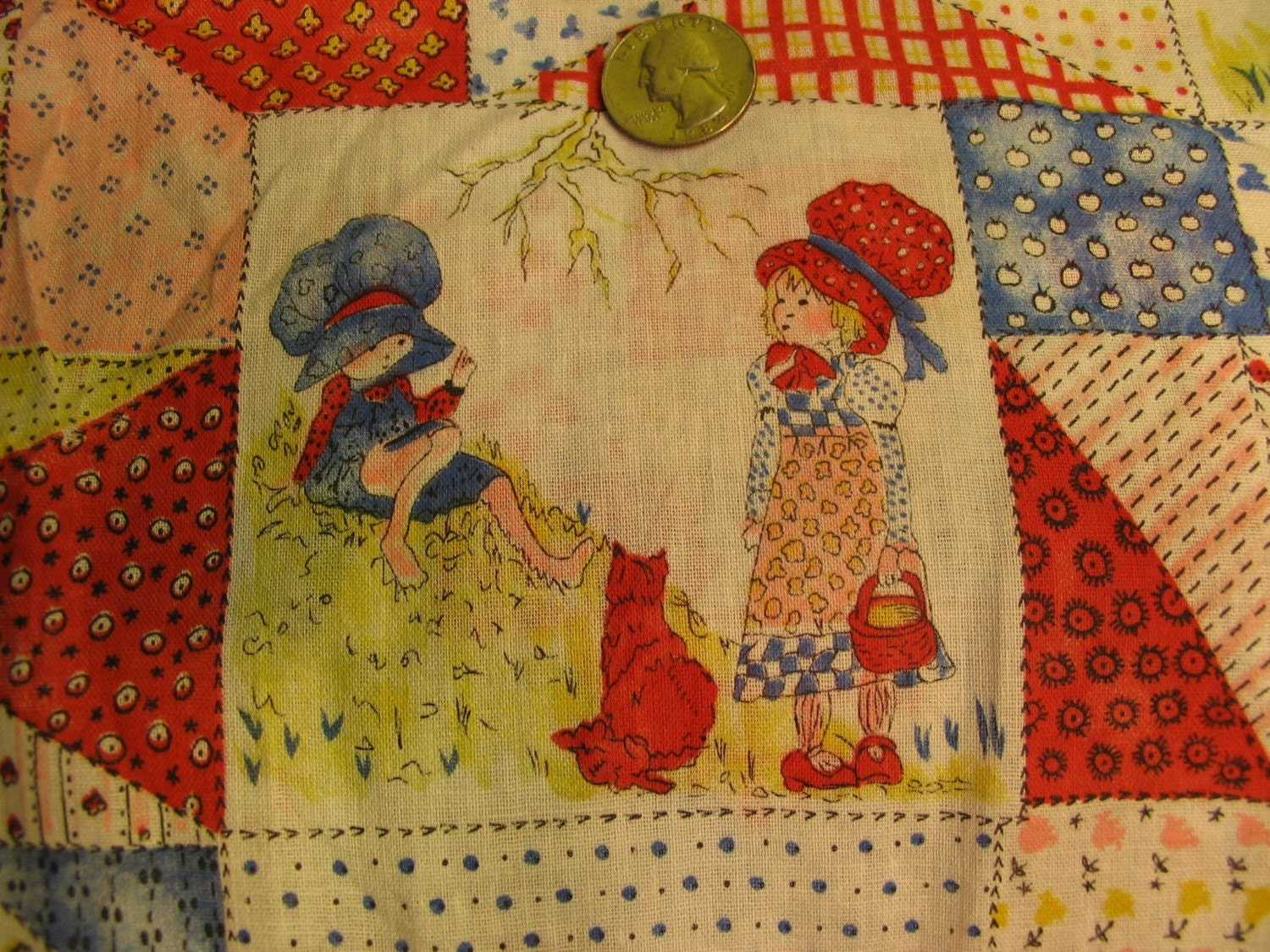 Crazy Quilt Pattern Fabric : Vintage 1970s Holly Hobbie Fabric Crazy Quilt Pattern Half