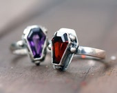 Custom color brilliant gemstone coffin ring sterling silver