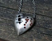 My bloody valentine sutured heart necklace sterling silver garnet