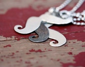 Whimsical mustache pendant sterling silver steel ball chain