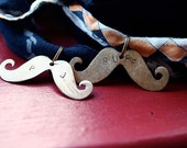 Bronze fancy mustache pendant personalized with two initials
